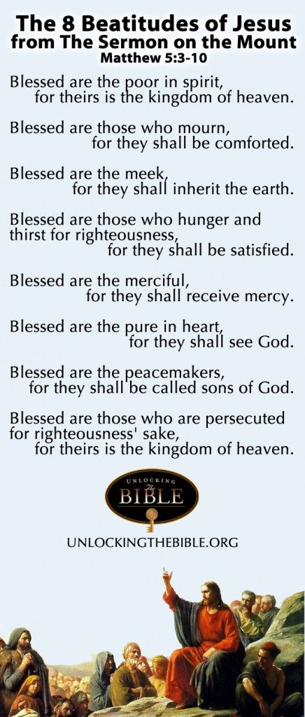 The Beatitudes from the Sermon on the Mount. Matthew 5:3-10  #Bible  http://www.unlockingthebible.org/