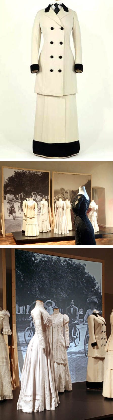 "From ""Fashion in Italy"" exhibit in Turin in 2012. At top is a walking suit of  Italian manufacture, Rome, Fondazione Tirelli Trappetti, ca. 1912."