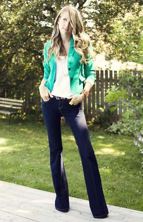 Flare leg denim and green blazer