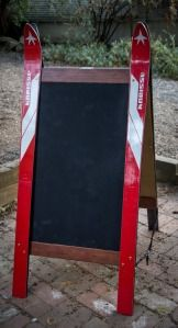 Sandwich Ski Sign Board (made with Kneisel skis).  Perfect for ski shops and mountain town businesses.