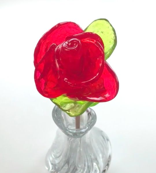 Make stained-glass effect roses out of Jolly Rancher candies. Easy and fun!