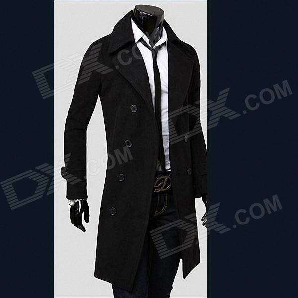 Fashionable Double-Breasted Trench Men's Coat - Black (Size-M)