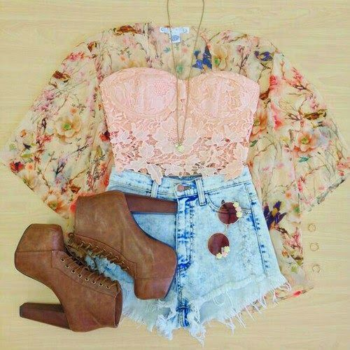Gorgeous denim sky blue stylish jeans shorts with top pink lace blouse and floral cardigan and brown high heels long boots and cute goggles and chain necklace and ear rings the cute summer teenage outfits