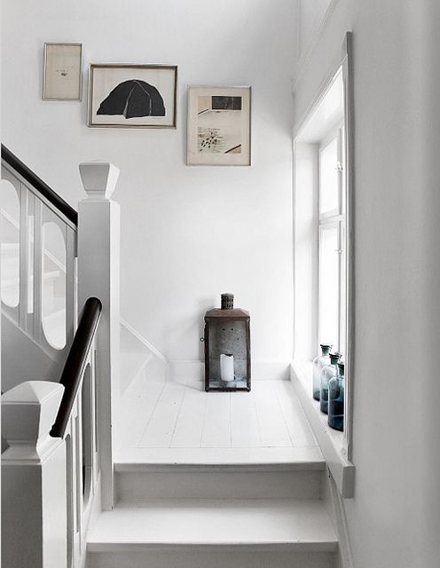 island of Funen in Denmark , tine k's home in est magazine , #stairs, old pharmaceutical #bottles