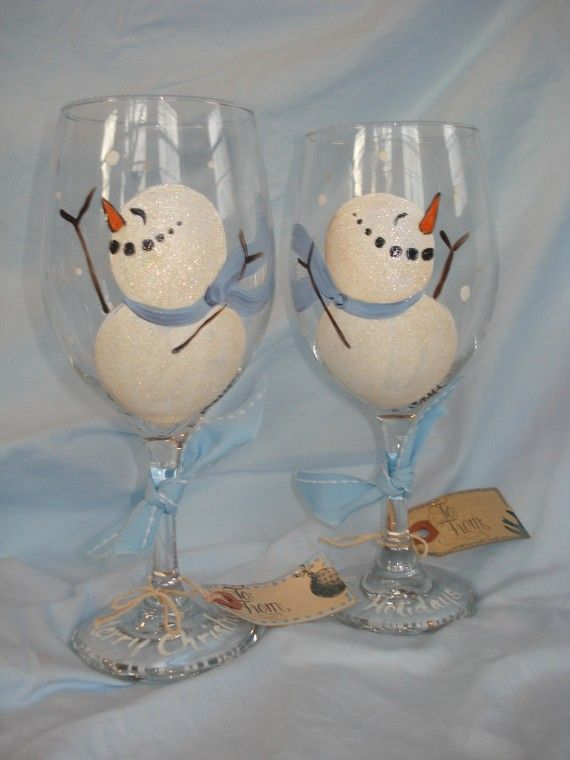Hand+Painted+Christmas+Wine+Glasses | Hand Painted Snowmen Wine Glasses by samdesigns22 on Etsy