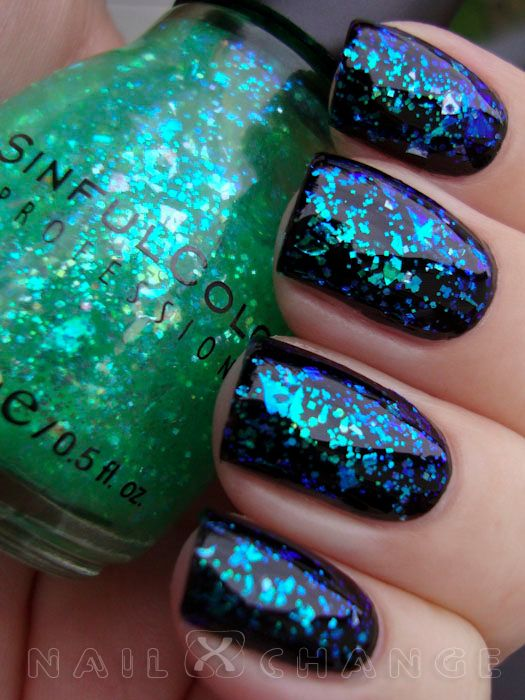 Sinful Colors Green Ocean - a friend bought me this Sinful Colors green sparkle & I didn't know what to do with it lol I like it as it's shown here over black tho!