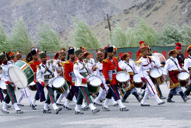Indian army band members perform during 'Vijay Diwas'