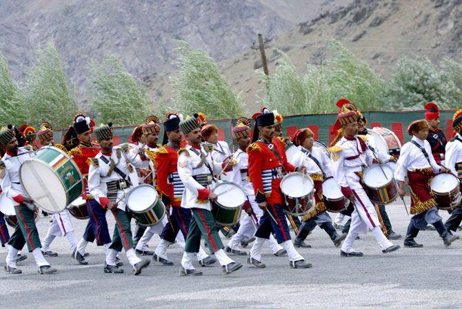 Indian army band members perform during 'Vijay Diwas'