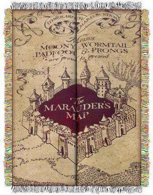 Marauder's Map 48″ x 60″ Throw Blanket - http://geekarmory.com/harry-potter-marauders-map-throw-blanket/