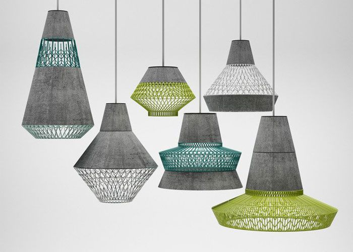 Decorative Concrete Containers by 3 Dots Collective concrete metal lighting