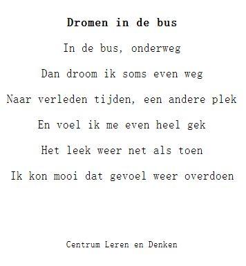 Een gedichtje met een herkenbare situatie: dagdromen. Lees je dit gedichtje voor…