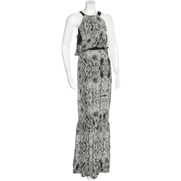 Pre-owned Parker Silk Snakeskin Print Dress ($95) ❤ liked on Polyvore featuring dresses, animal print, halter-neck maxi dresses, silk dress, silk maxi dress, ruffle maxi dress and white ruffle dress