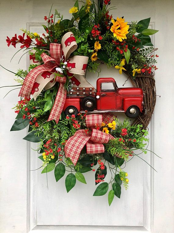 Fall Truck Front Door Wreath Thanksgiving Front Door Wreath Rustic Welcome Fall Front Door Wreath Rustic Fall Truck Front Door Wreath