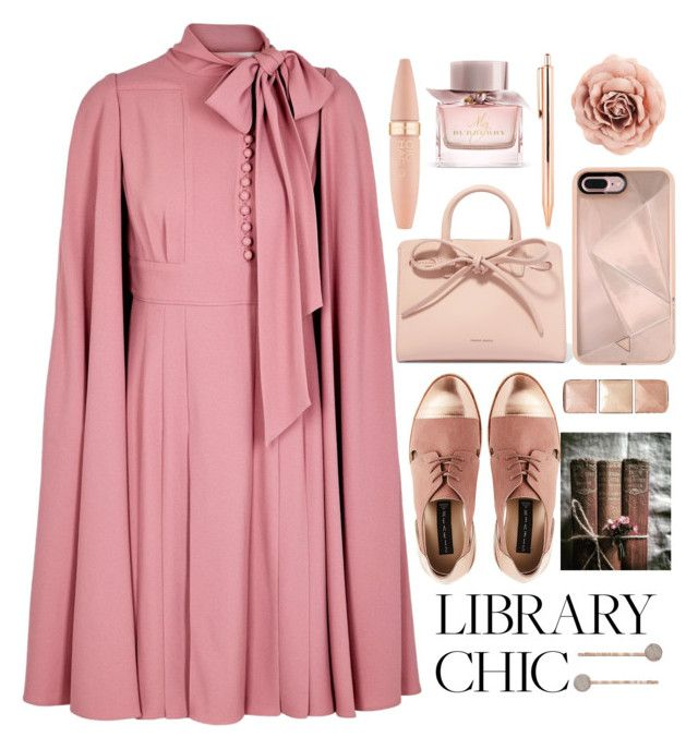 """Romantic library chic"" by puljarevic ❤ liked on Polyvore featuring Valentino, Mansur Gavriel, Hourglass Cosmetics, Rebecca Minkoff, LC Lauren Conrad, Burberry, Maybelline and finals"