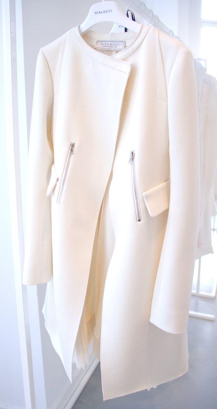 #coat #white #NinaRicci