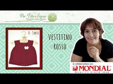 Tutorial - Vestitino rosso (taglia 0 - 3 mesi) - YouTube