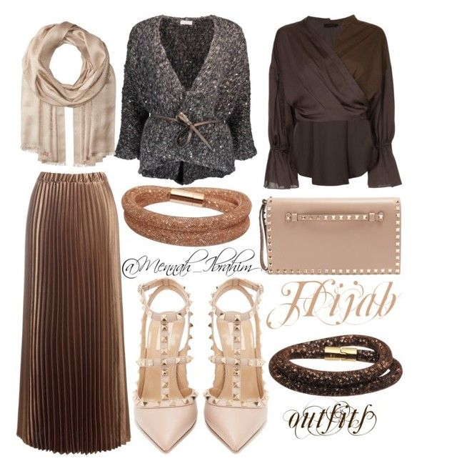 """""""#Hijab_outfits #modesty #Brown #Beig"""" by mennah-ibrahim on Polyvore featuring Sans Souci, Aula, Brunello Cucinelli, Salvatore Ferragamo, Swarovski and Valentino"""