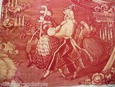 Панель 1 антикварные французские ткани вуаль-де-де Жуи 19THC Французский текстиль марена красный