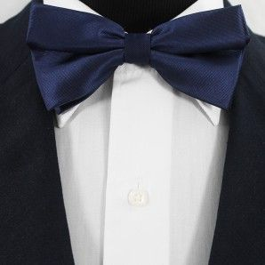 Navy Blue Bow Tie Set / Wedding Bow Tie Set