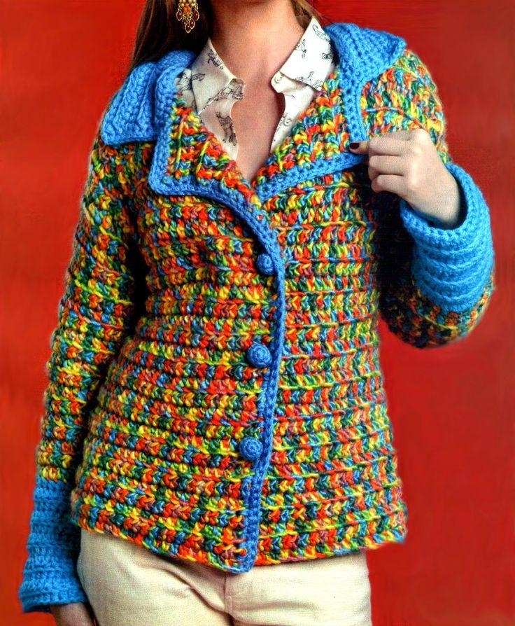 Saco tejido en crochet a todo color