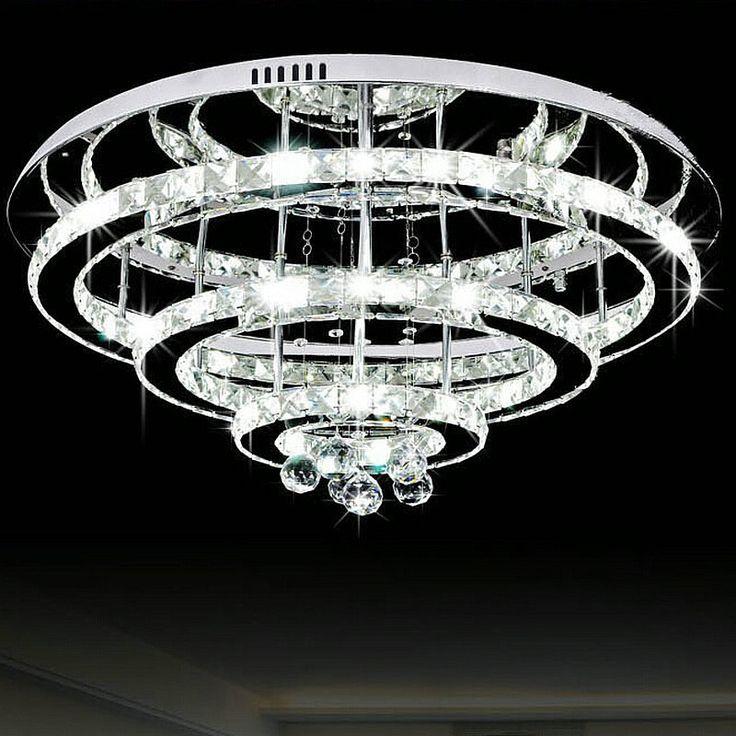 Modern stainless steel led ceiling lamp cristal de techo lamparas para sala luminarias home decoration light living room light