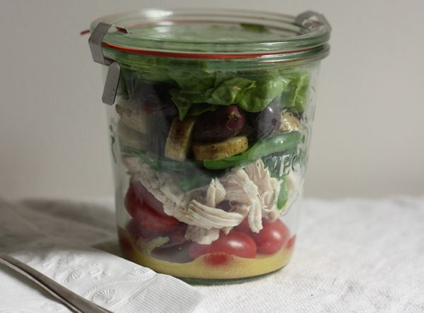 French picnic salad in a jar (put the dressing at the bottom so lettuce doesn't get soggy) | writes4food.com