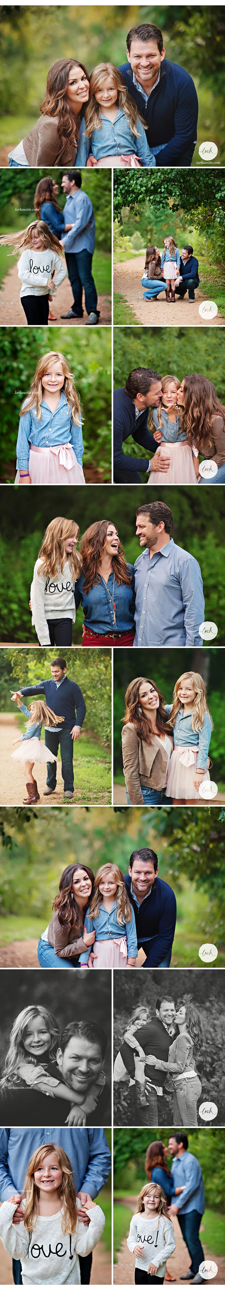I love the outfit coordination for these pictures! She managed two sets! Great for fall family portraits in Austin, where it's still mostly green foliage. brown, blue, pink & black, white, blue, maroon | Lark Austin Photography Austin, TX