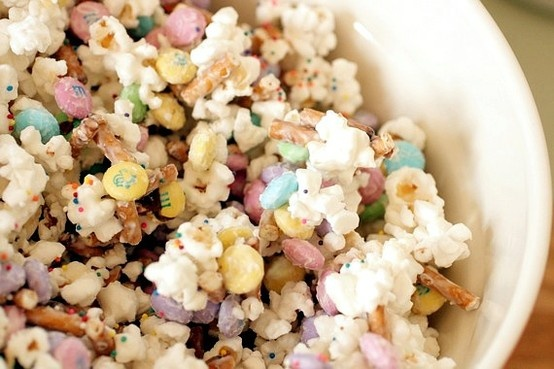 Bunny Bait: popcorn, Easter M and Ms, pretzel sticks, sprinkles, & white chocolate candy coating.