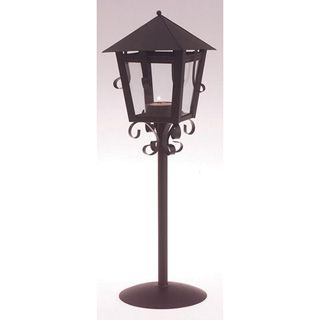 POSSIBLE CENTERPIECES - Lamp+Post+Style+Black+Metal+Tea+Light+Lantern+-+5.31+x+4.92+x+14.37+inches