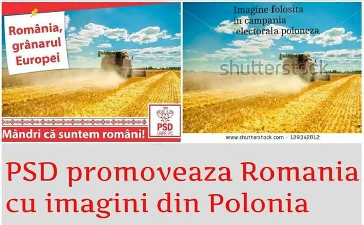 PSD promoveaza Romania cu imagini din Polonia.