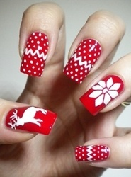 """red and white reindeer and snowflake christmas nail art"""" data-componentType=""""MODAL_PIN"""