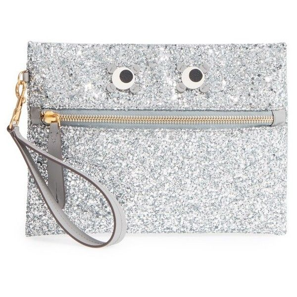 Women's Anya Hindmarch Eyes Circulus Glitter Pouch (€405) ❤ liked on Polyvore featuring bags, handbags, clutches, silver, glitter clutches, pouch handbags, silver glitter handbag, anya hindmarch purse and anya hindmarch handbags