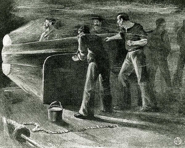 """A sketch of the scene inside the USS Monitor's turret during its battle with CSS Virginia from the book """"Deeds of Valor."""" The Brooklyn-built #USSMonitor made nautical history after being designed and assembled in 118 days, and then commissioned Feb. 25, 1862. Fighting in the first battle between two ironclads in the Battle of Hampton Roads on Mar. 9, 1862."""