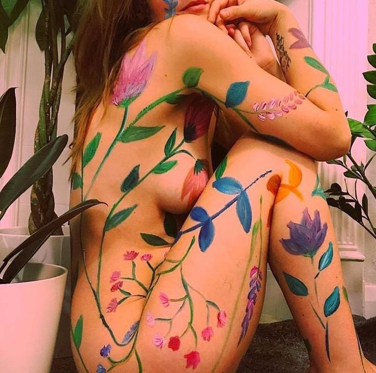 Paint flowers all over your body x
