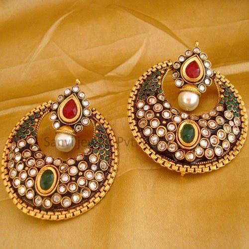 Multicolour Traditional Polki Earring