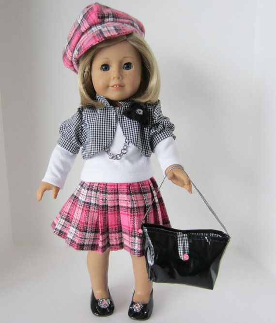 American Girl Doll: Black Checks and Pink by SewSpecialByBarb