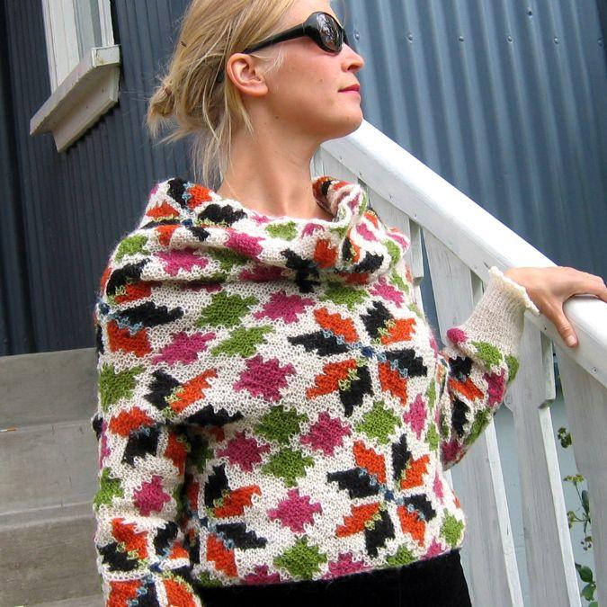 From Icelandic knitting, using Rose patterns by Hélène Magnússon
