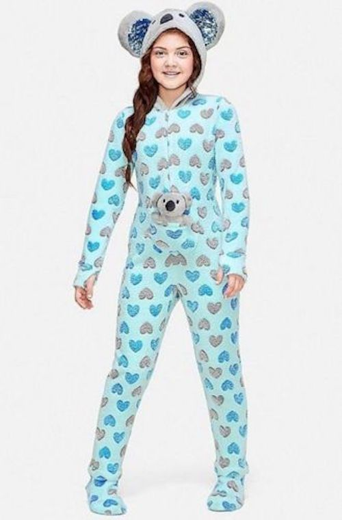 b0c5a40d3 Justice Girls Koala Pouch One Piece Hooded Pajamas Size 10 SOLD OUT  #Justice #OnePiece