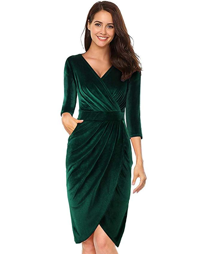 LECCECA Womens V Neck 3 4 Sleeves Velvet Bodycon Pencil Wrap Dress Sexy  Cocktail Wedding Party with Pockets Green aada9de5d3e7