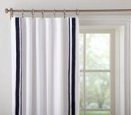 White Curtains W Navy Trim Md 39 S Room Pinterest