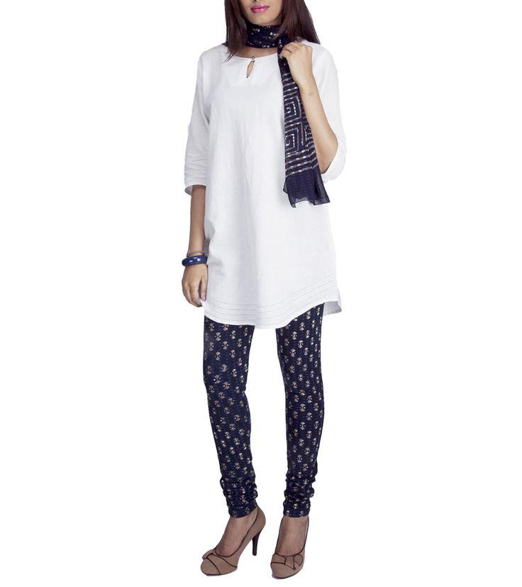 Indigo Block Printed Cotton Churidar Suit #georgette #fusionwear #jackets #printed