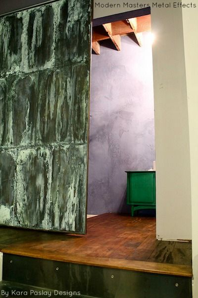 Patinated Sliding Door Finished With Modern Masters Metal