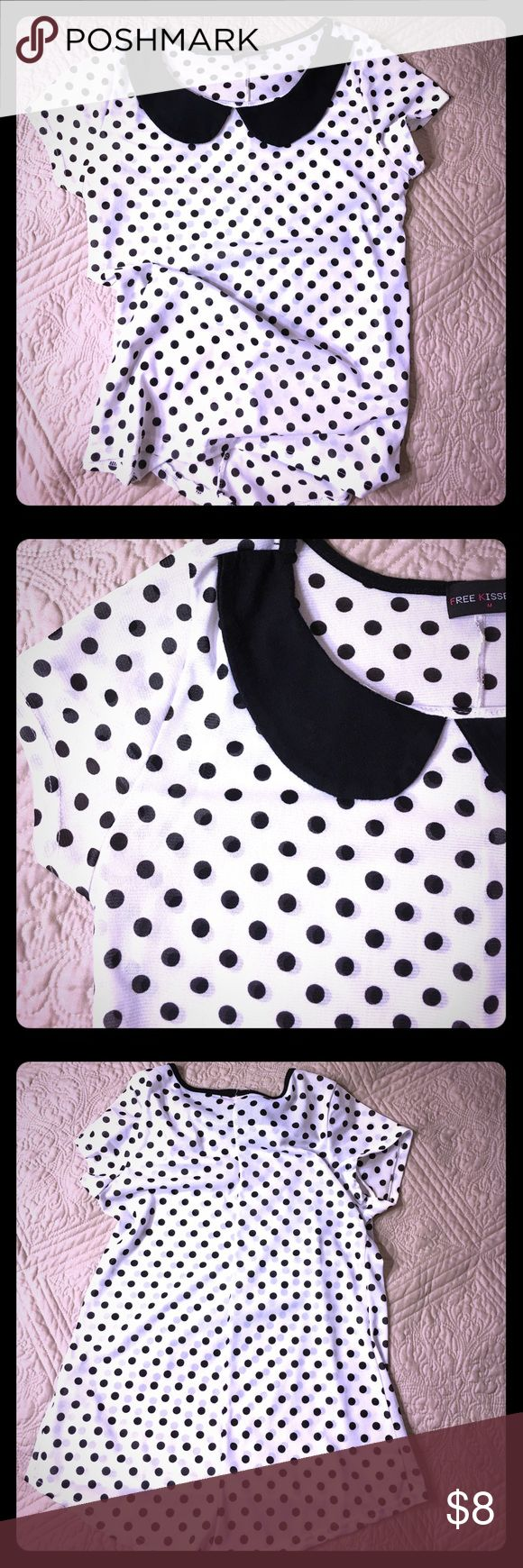 BLACK AND WHITE POLKA DOT TOP 100% Rayon| Stretchy Free Kisses 💋 Tops Tees - Short Sleeve