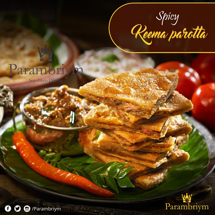 Soft and chewy parotta stuffed with deeply fried chicken keema. Try our #Parambriym special Keema parotta #foodie #foodlove #weekend #dineout