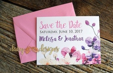 Orchid Field Save-The-Date with light pink envelope