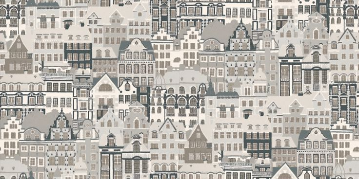 Metropolis (484-81) - Sandberg Wallpapers - A contemporary design of repeated houses and apartments in a hand painted effect. Showing in black, white and grey. other colour ways available. Please request a sample for true colour match.