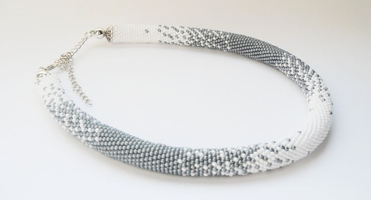 Crochet Bead Necklace Handmade Crochet Rope Jewelry Short Necklace Gift For Chef Business Casual Style Elegant Contemporary White And Grey by goodhandSakura on Etsy