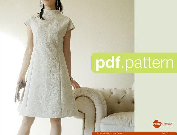 PDF sewing pattern Women high neck dress by WafflePatterns on Etsy