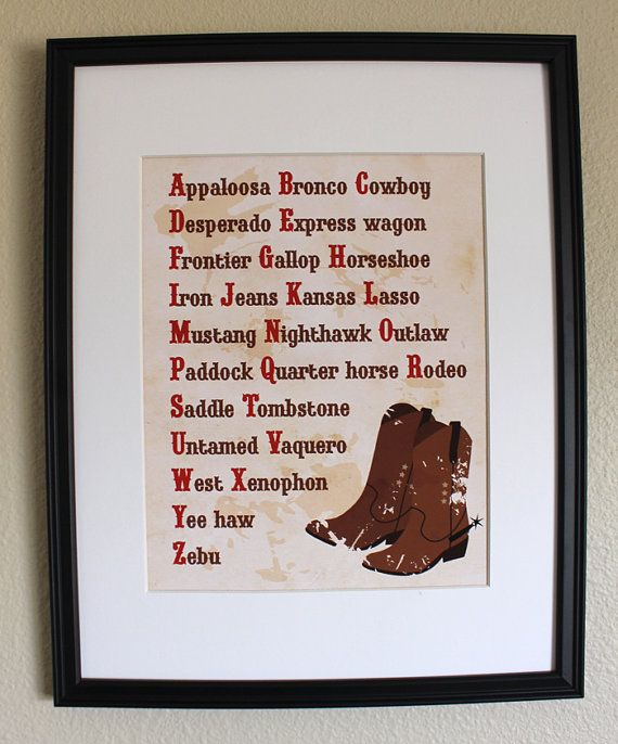 Cowboy Wall Decor Nursery : Mothers day sale cowboy decor alphabet art print nursery