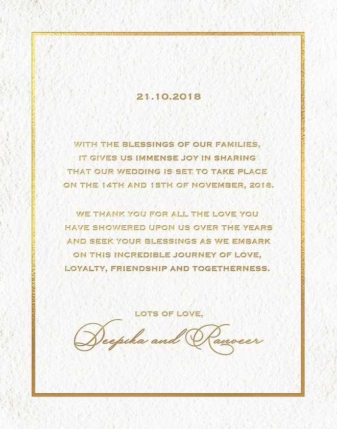 Image Result For Deepika Ranveer Wedding Invitation Wedding Invitation Cards Deepika Padukone Big Wedding